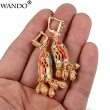 WANDO Fashion Senegal Earrings for Women/Girls birdcage Gold Color Wedding Jewelry Africa Dubai Arab French Jewelry