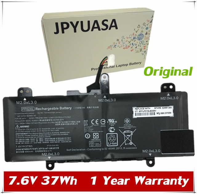 7XINbox 7.6V 37wh Original PP02XL Laptop Battery For HP 824561-005 HSTNN-IB7H 823909-141 Series Tabl
