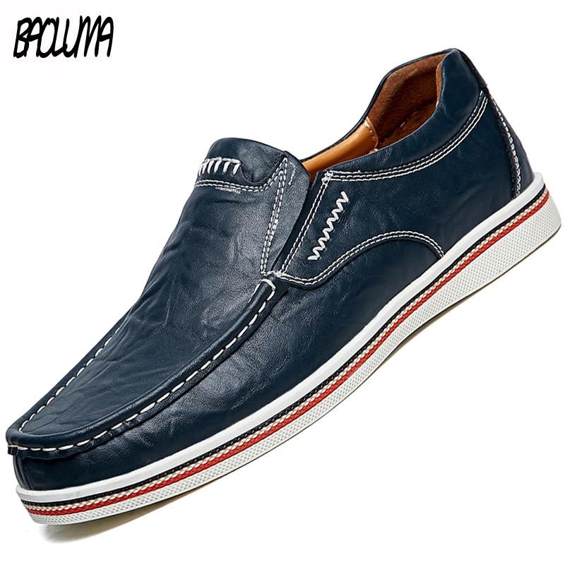 Zapatos de barco de cuero para hombre, mocasines planos informales, mocasines para conducir para hombre, mocasines transpirables sin cordones, zapatos de hombre cosidos a mano