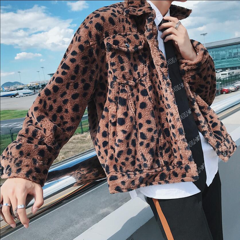 M-2xl 2021 جديد الشتاء ليوبارد سترة الرجال مقطع قصير النسخة الكورية من أفخم القطن المد سترة زوجين ليوبارد الملابس