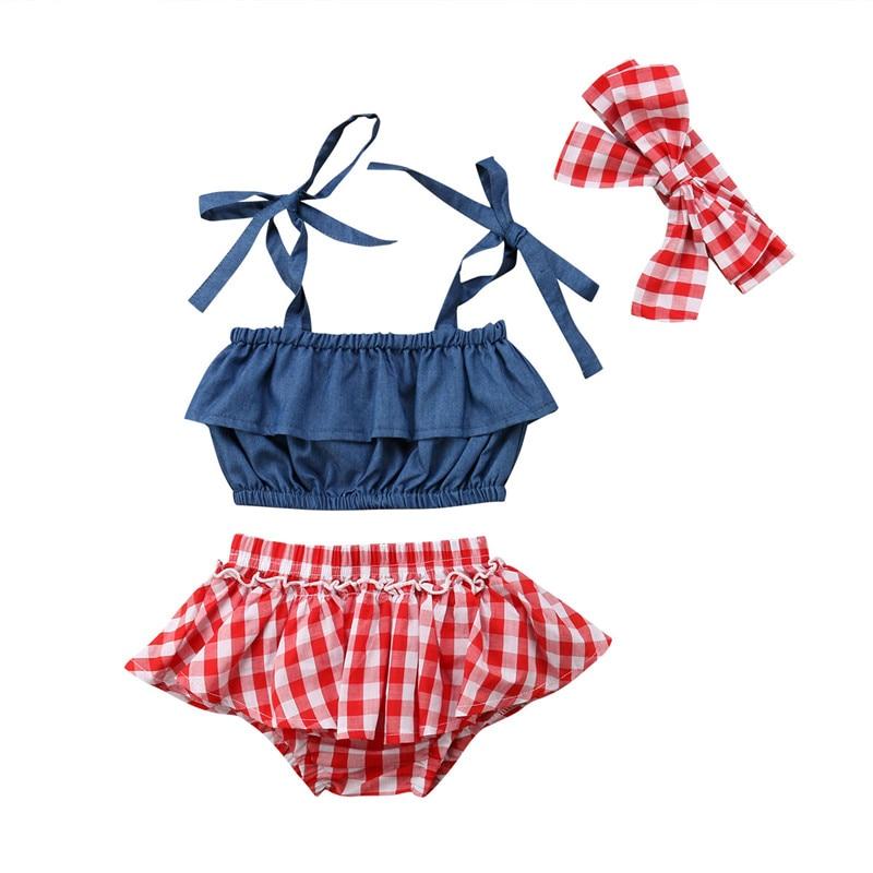 Bonito conjunto de ropa para niñas pequeñas recién nacidas a la moda para niños y niñas, tirantes de tela vaquera + Pantalones cortos con tutú a cuadros + diadema 3 uds, ropa para bebés
