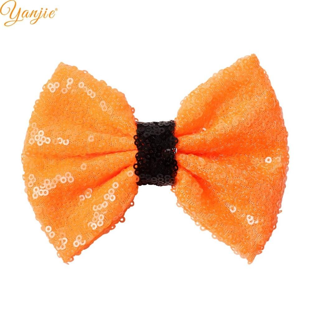 "12pcs/lot Trendy Glitter Halloween Black/Orange Festival 5"" Messy Sequins Hair Bow Barrette 2020 DIY Hair Accessories Hair Clip"