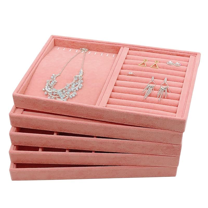 Лидер продаж, модный бархатный ящик для хранения ювелирных изделий, кольцо, серьги, ожерелье, дисплей, подставка, держатель, многофункционал...