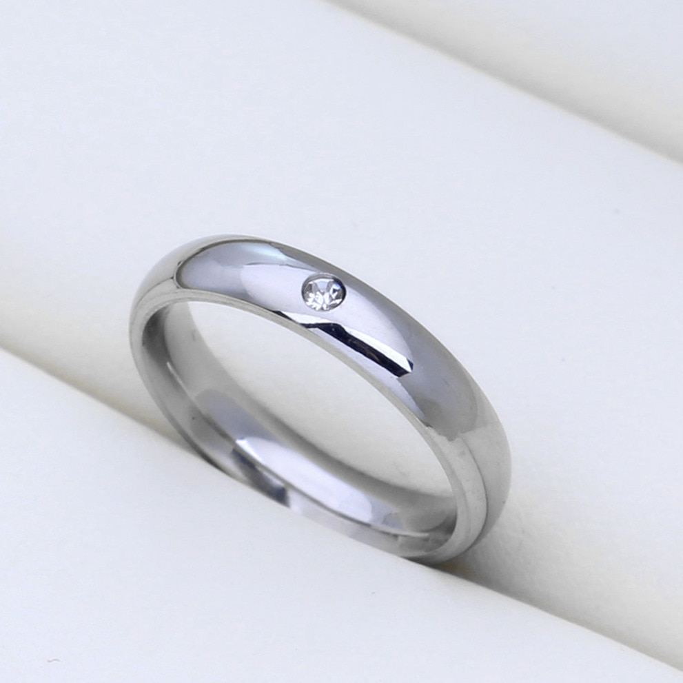 MOREDEAR Never Fade 4mm Stainless Steel Solid Zircon Ring Engagement Wedding Charm Rings for Men and Women