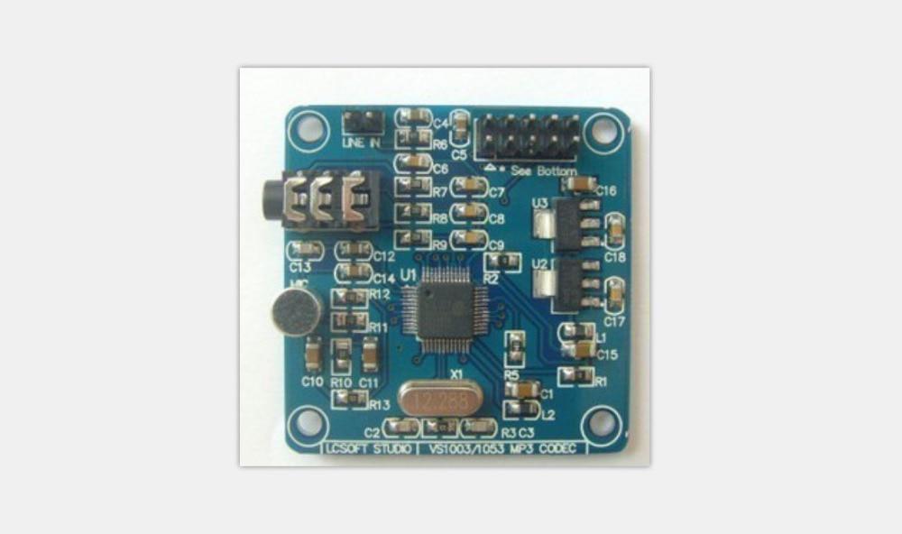 VS1003 MP3 módulo microfone on-board MP3, MP3 + V, WMA, WAV, MIDI, SP-MIDI SPI