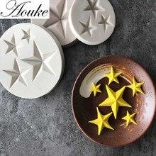 Aouke-moule en forme de étoiles en Silicone   Gumpaste chocolat Fimo moules à bonbons en argile, outils à gâteaux fondants D021 * D024 * D025