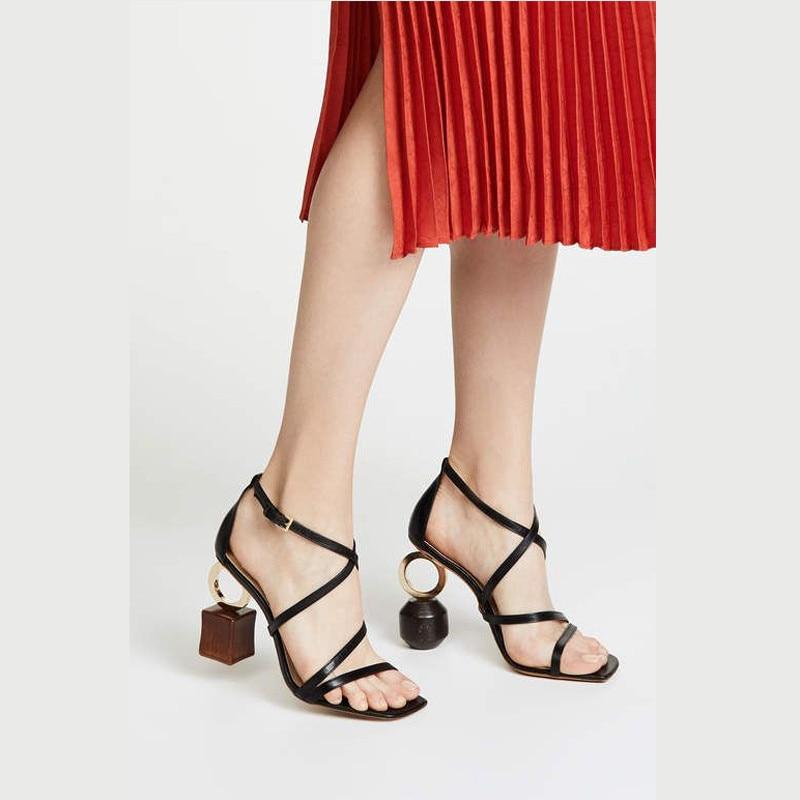 Zapatos de marca de lujo para mujer, Sandalias de tacón Irregular, tacones altos, novedad, estilo extraño, sandalias gruesas de cuero genuino, talla 41