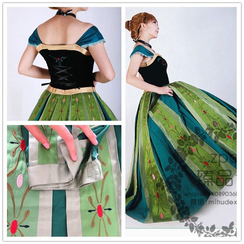 Halloween mujeres nieve princesa Anna disfraz Froze bordado espalda vestido con cordón princesa juego de rol elegante vestido con collar