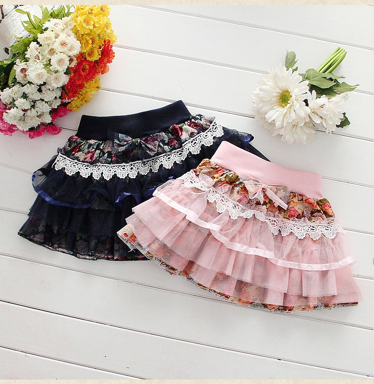 NEW Baby Girl Skirt Spring Autumn Fashion Lace Flower Cotton Bow Casual Mini Skirt Girls Tutu Skirt Fashion Kids Clothing