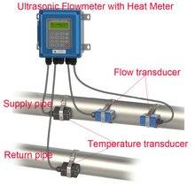 New generation Digital Wall Mounted Clamp On Ultrasonic Water Flow Meter Flowmeter with Heat Meter TUF-2000B DN50-DN700mm