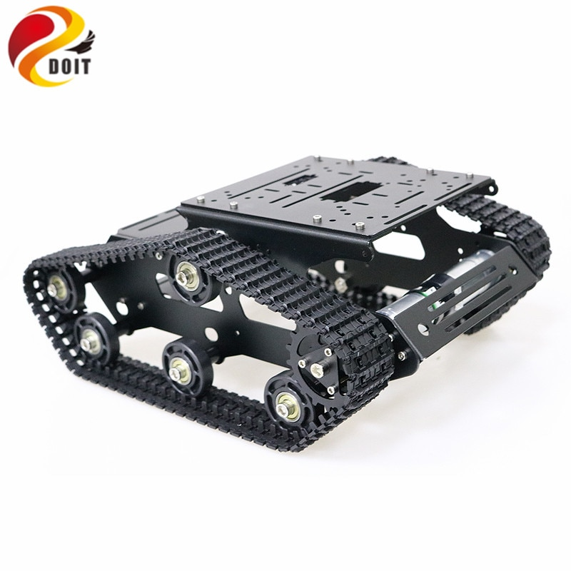 YP100 Metal Tracked Robot Tank Chassis with Aluminum Alloy Frame Robotic Arm Interface Holes for Rob