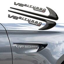 2pcs Fender Wind Vane Air Cover V8 BITURBO Logo Embelm Sticker For Mercedes Benz AMG A B C E S R G Class W220 W221 W222 W245 SLS