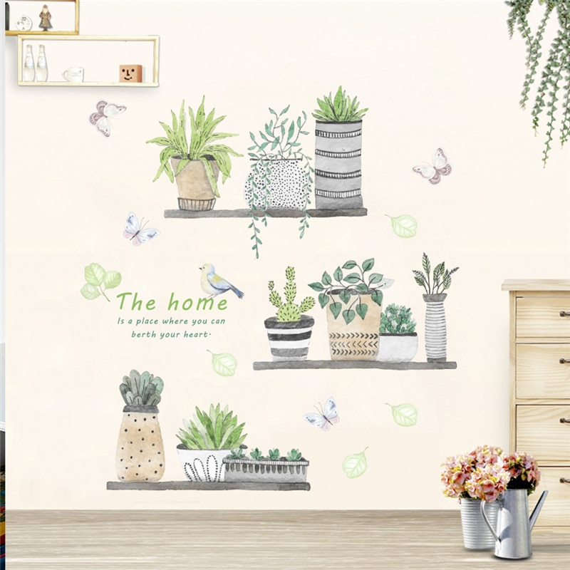 % garden plant bonsai flower butterfly wall stickers home decor living room kitchen pvc wall decals diy mural art decoration