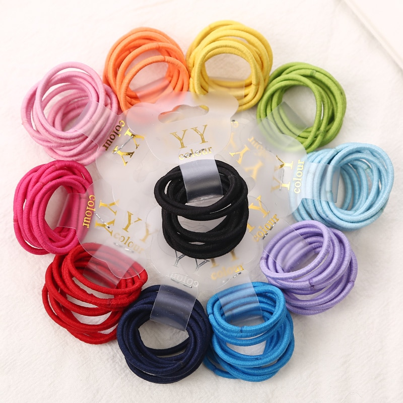 Fashion 10pcs/lot Children Headwear Candy Colored 3CM Elastic Ponytail Holders Accessories For Girls Kids Rubber Bands Tie Gum