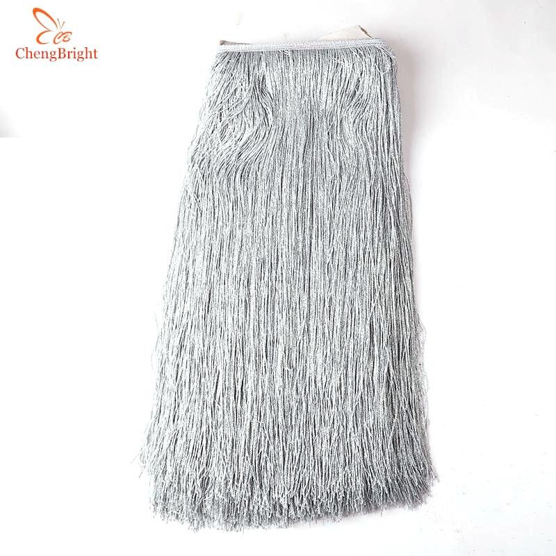 Beatiful 50CM/Pack Silver Fringe Trim Tassel Fringe Trimming Latin Dress Stage Clothes Accessories 50cm Wide Lace Ribbon Tassel