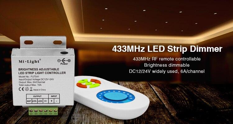 (1 set/lote) 433MHz doble Blanco/brillo ajustable/RGB controlador de tira LED