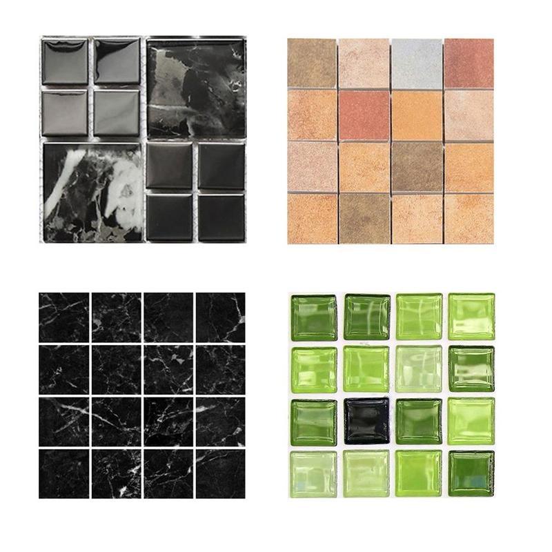 Self Adhesive Mosaic Tile Sticker,Kitchen Backsplash Bathroom Wall Tile Stickers Decor Waterproof Peel&Stick PVC Tiles 10x10cm