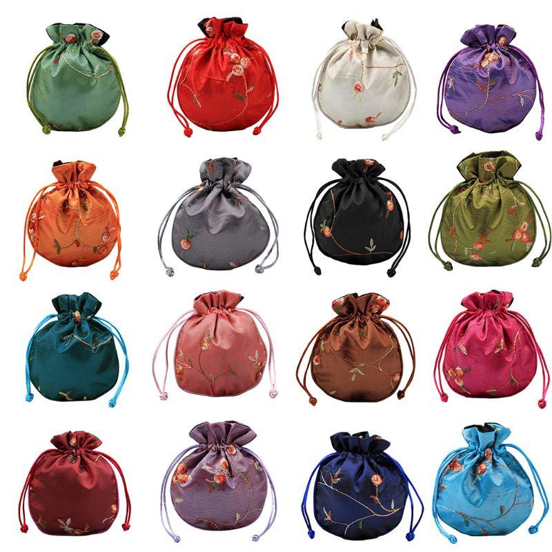 1 Mini bolso de la joyería de moda tradicional de seda bolsa de viaje bordado chino clásico bolsa de embalaje de joyería organizador bolsos