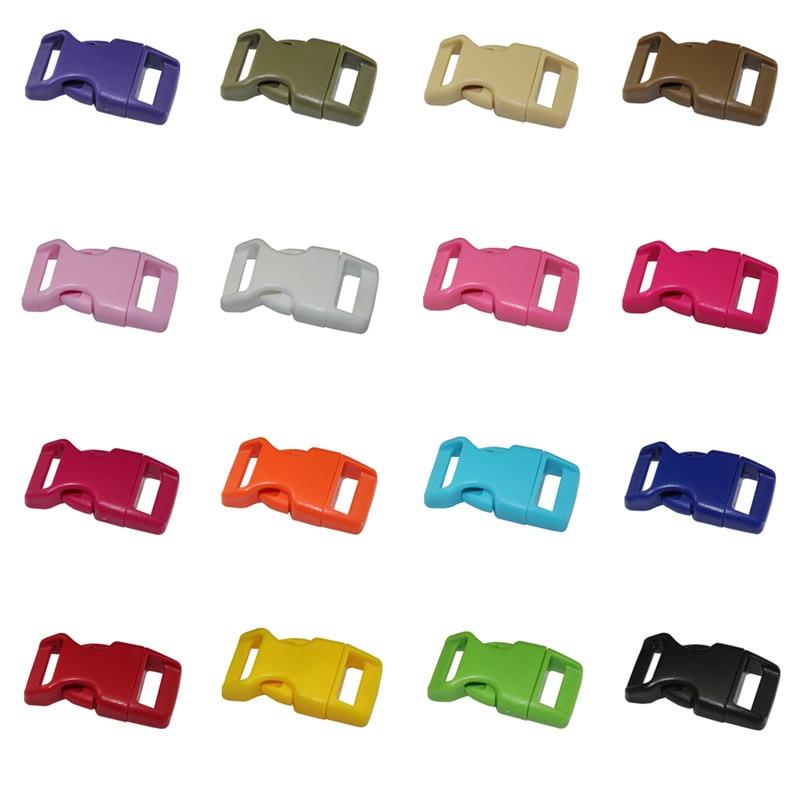 10 pçs/lote Pet colarinho fivela de segurança corda guarda-chuva pulseira fivelas de plástico adequado para 15mm de largura webbing