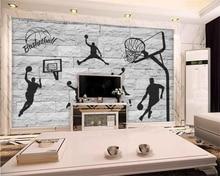 Beibehang-papier peint mural en brique   3D, peint à la main, élément de basket-ball, décoration murale de chambre à coucher, pour fond de maison
