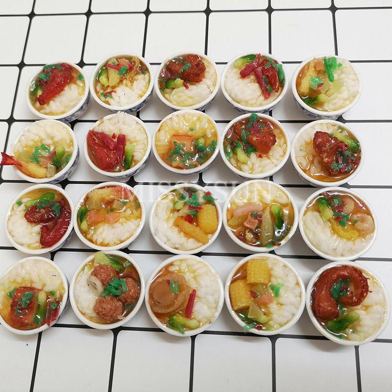 2 stücke Miniatur Puppenhaus 1:6 skala der Chinesischen Reis Mini Chinses Küche Dessert Nudeln Pretend Lebensmittel for1/6 Puppe Küche spielzeug
