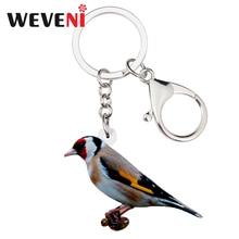 WEVENI acrylique européen chardonneret oiseau porte-clés porte-bague bijoux de mode pour femmes fille sac de voiture pendentif breloques porte-clés nouveau