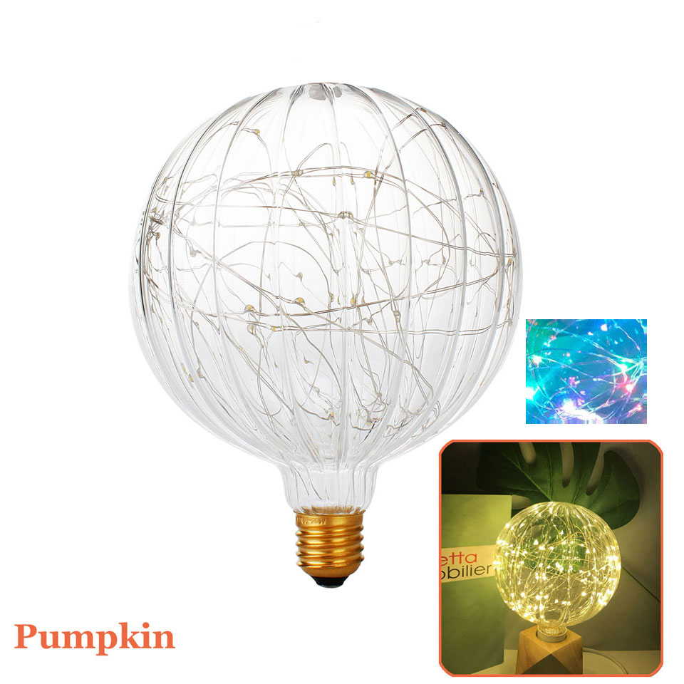 Светодиодная лампа G150, Тыквенные лампочки E27 3 Вт, фейерверк, светодиодная лампа 110 В 220 В, гирлянда для украшения дома, лампе, цветная/теплая б...