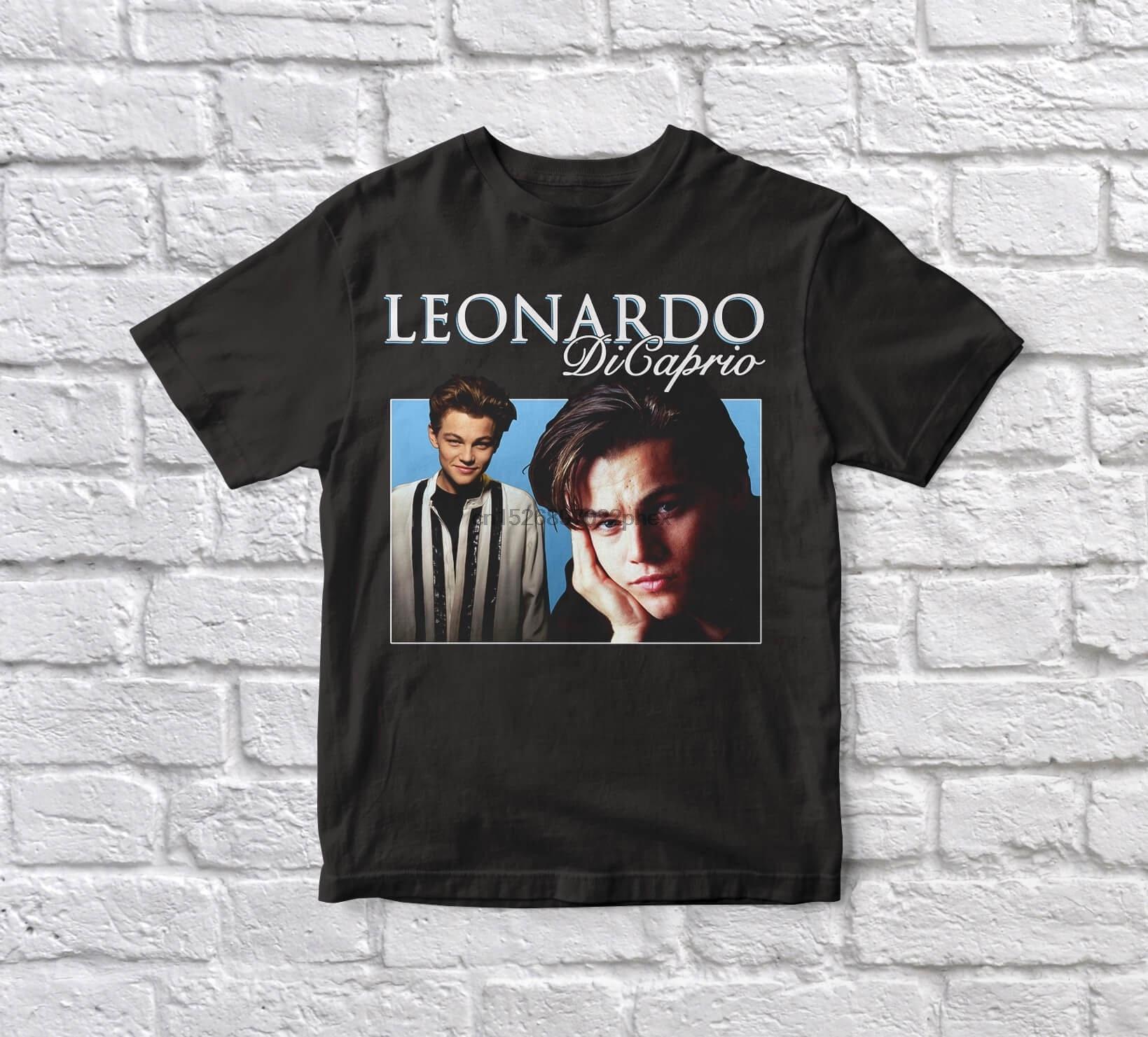 Leonardo dicaprio titanic 90s vintage unisex preto camiseta masculina