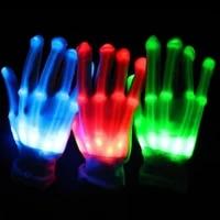 led party led gloves luminous gloves rave light finger lighting flashing gloves unisex skeleton glove