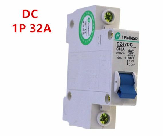 DZ47 DC 1 P 32A 250 V solar Fotovoltaica DC interruptor de circuito interruptor de aire