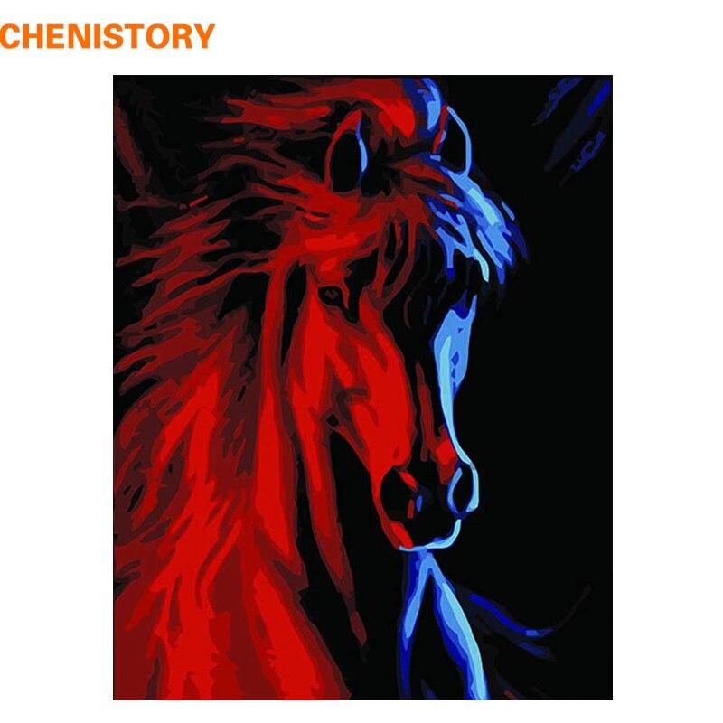 CHENISTORY животные Красный Бег Лошади DIY масло Набор для рисования по номерам окраска по номерам уникальная краска для подарков по номеру насте...