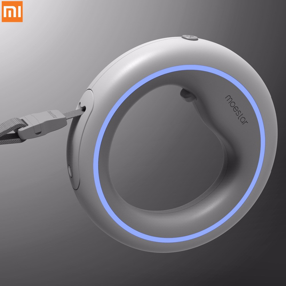 Xiaomi Pet automática telescópica cuerda de tracción Correa cadena elástica innovadores anillo manejar perro con iluminación LED