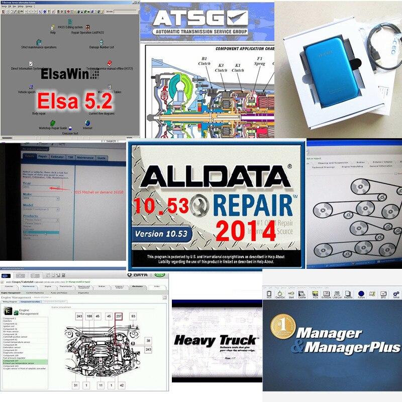2017 Alldata 10,53, software de reparación automática de todos los datos alldata mitchell a petición 2015 + gerente + camión pesado + taller vivo 49in 1tb hdd
