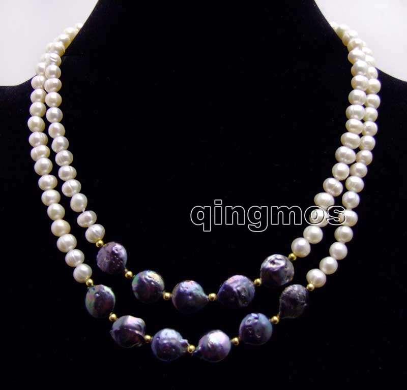 6-7mm perla blanca redonda y 12-13mm moneda negra perla redonda Natural FW 2 hebras 17-18 Necklace-n6227 al por mayor/al por menor envío gratis