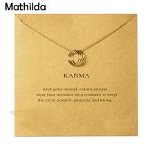 Scintillant Triple Karma cercle collier or plongé pendentif clavicule Necklace18k mode déclaration collier femmes bijoux