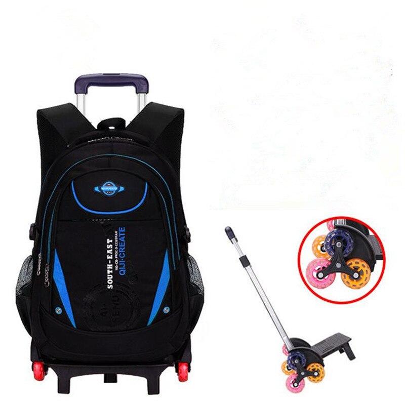 Crianças 2/6 rodas rolando mochila removível meninos saco de livro à prova dwaterproof água crianças trole mochila de viagem mochila
