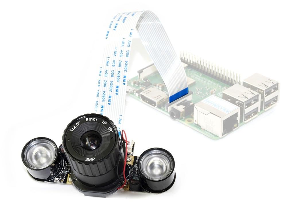 Waveshare التوت بي RPi IR-CUT كاميرا (B) ، جزءا لا يتجزأ من IR-CUT ، مع الأشعة تحت الحمراء LED ، يدعم للرؤية الليلية ، دعم جميع التوت بي