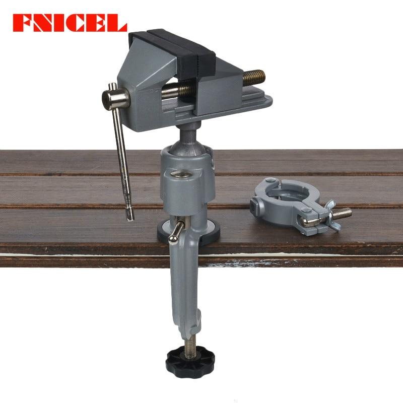 1Set Mini 2 In 1 Multifunction Table Vise Bench Vice Aluminium alloy 360 Degree Rotating Universal Clamp Units Vise