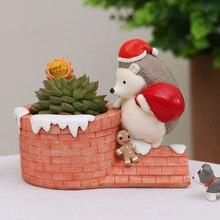 Christmas Decor Flower Pot Animal Shape Hedgehog House Planter Succulent Bonsai Creative Christmas Gifts Home Office Decoration