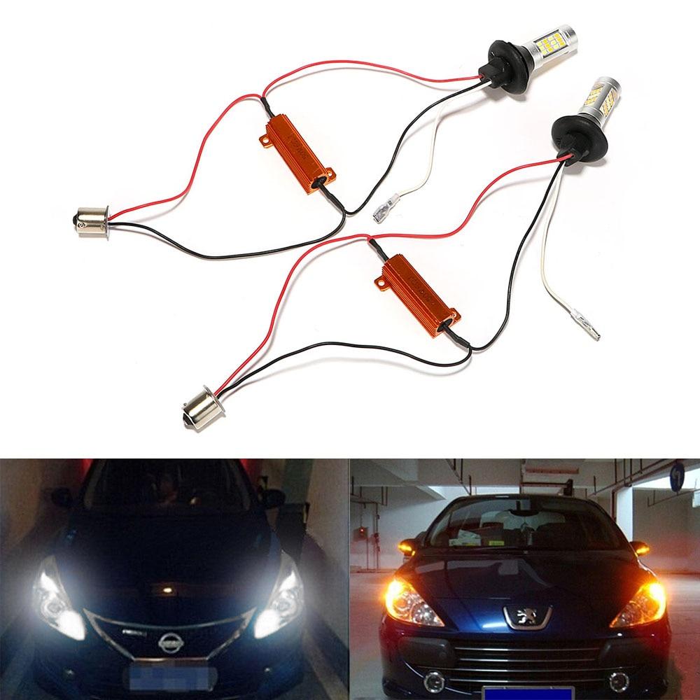 2Pcs/Set 1156 42 LEDs Universal Car Turn Signal Light Daytime Running Lights DC 12V LED Car DRL 2 In 1 Auto Lamps