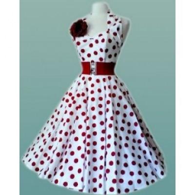 Folga s xl 2xl 3xl womens halter branco com pontos vermelhos vintage rockabilly celeb vestido vestidos
