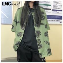 LMCAVASUN Harajuku camisas de mujer nueva Casual chino dragón Harsjuku camisa verde verano suelta Camiseta de manga corta