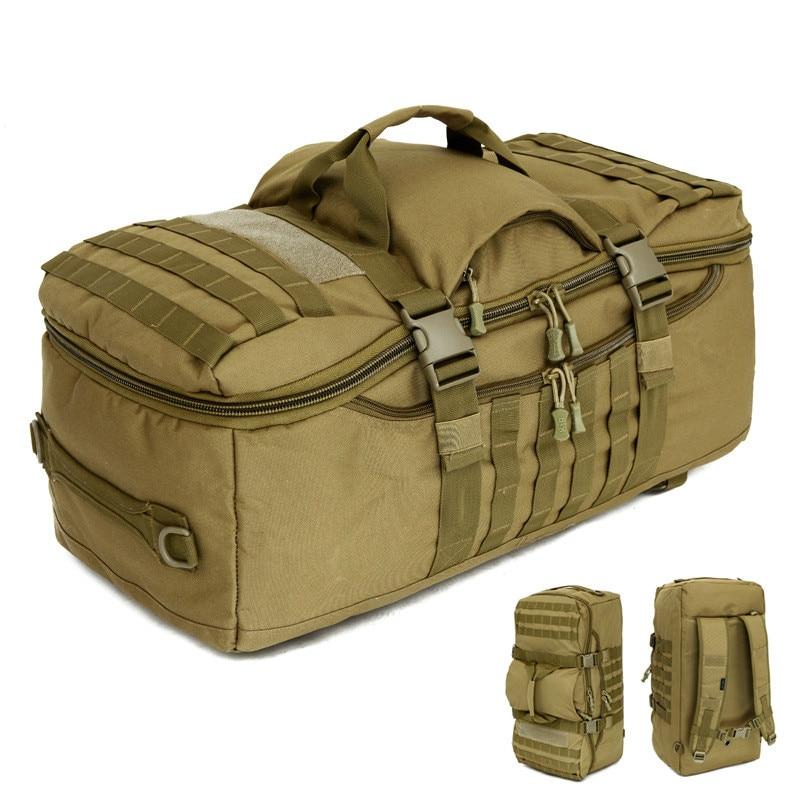 التكتيكات العسكرية على ظهره 60L قدرة كبيرة متعددة الوظائف الرجال حقيبة سفر على ظهره للماء النايلون حقيبة كتف حقيبة