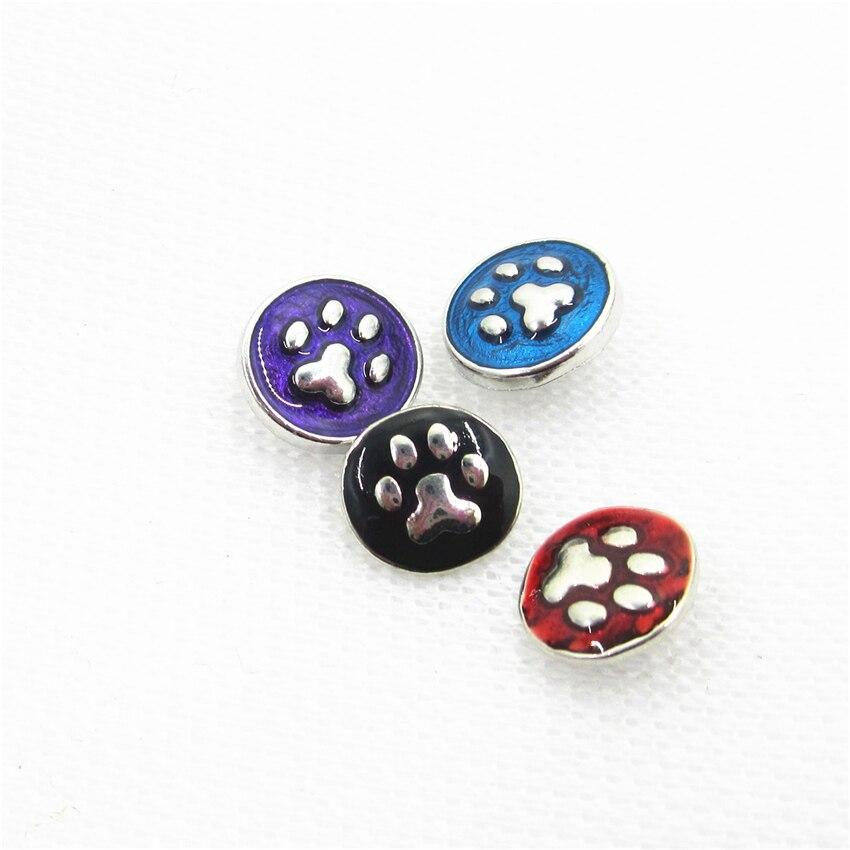 20 unids/lote de botones a presión de colores surtidos con forma de pata de perro para pulsera y brazaletes de 12mm de Ginger Button DIY Snap abalorios de joyería para collar