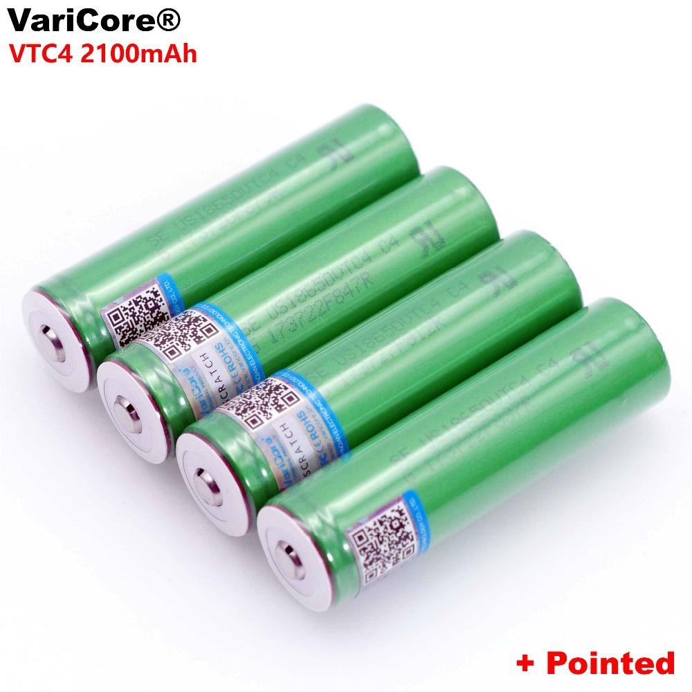 VariCore 100% Original 3,6 V 18650 VTC4 2100mAh de alto drenaje 30 a batería recargable para US18650VTC4 + punta