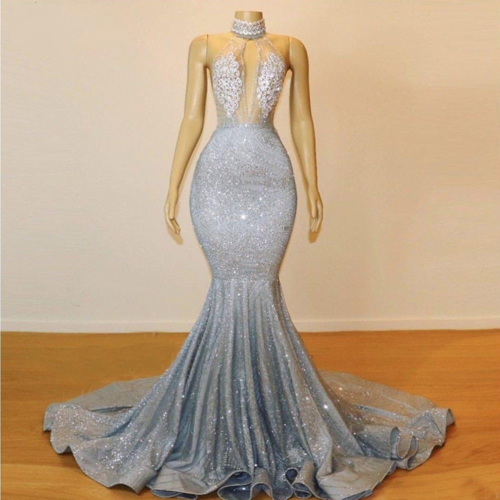 Sparkly Mermaid Silver Prom Dresses Long 2019 Sheer High Neck Sequins Beaded Backless Evening Formal Party Gown