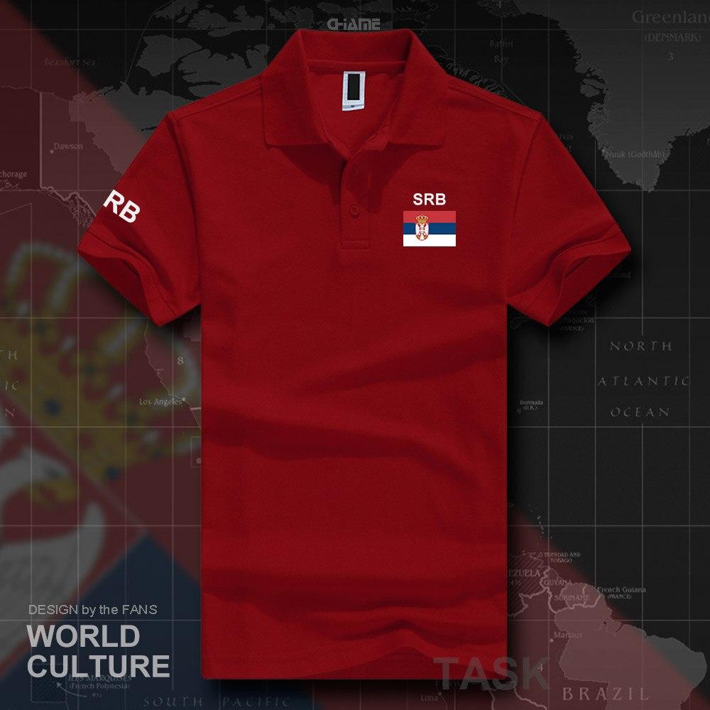 Camisas de polo serbias de manga corta para hombres, marcas blancas impresas para el país, 2017 algodón, bandera del equipo nacional, nuevo SRB Srbija