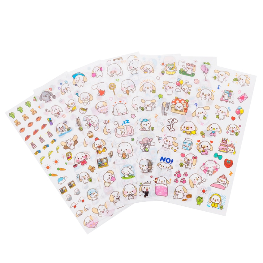 Adesivos cinnamoroll sanrio 6 unidades/pacote kawaii, adesivos para scrapbooking, faça você mesmo, bonito, cão, adesivo de carta para crianças, diário, adesivo