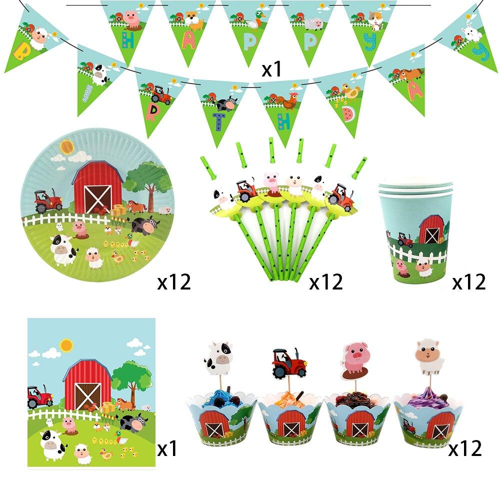 62 peças para 12 crianças animais de fazenda porco vaca tema festa de aniversário supplie conjunto de utensílios de mesa, placa + copo palha banner toalha ect