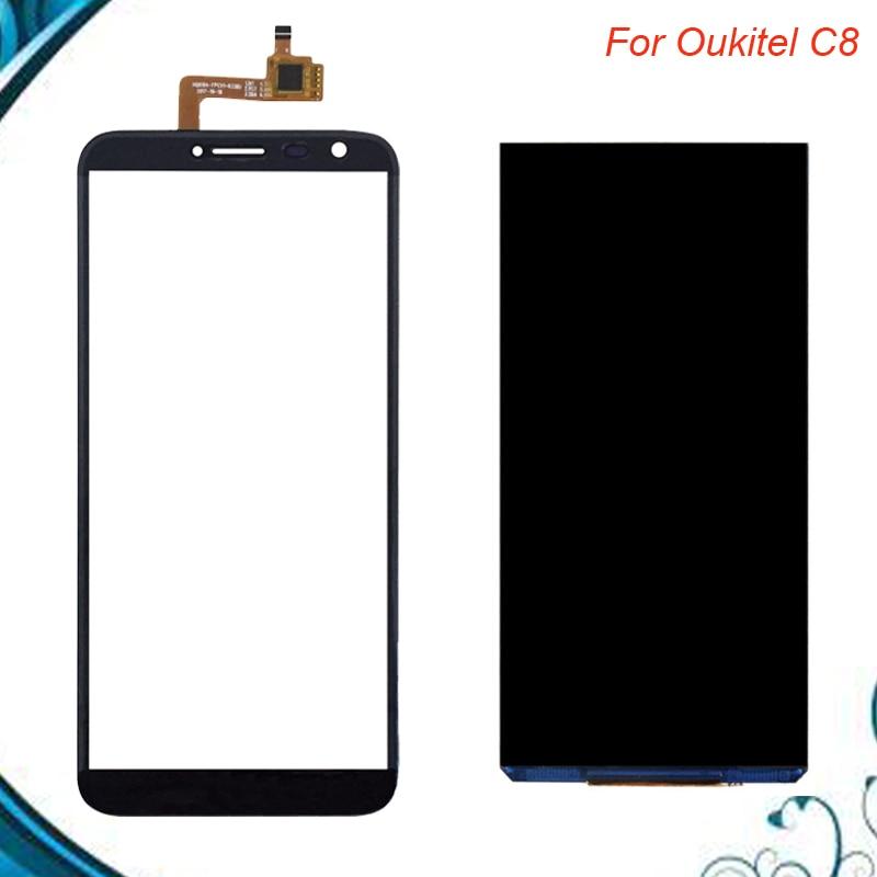 Para Oukitel C8 pantalla LCD + pantalla táctil 100% LCD probado + reemplazo del panel de vidrio digitalizador para oukitel c8 en Stock